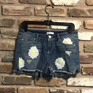 LC LAUREN CONRAD Daisy Frayed Jean Denim Shorts